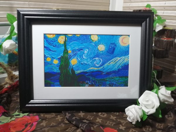 Dr Who meets Van Gogh framed Phot Print